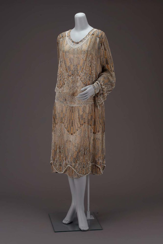 Dress, American About 1926, Silk plain weave (chiffon), printed and embroidered with glass beads, Museum of Fine Arts, Boston, 52.236