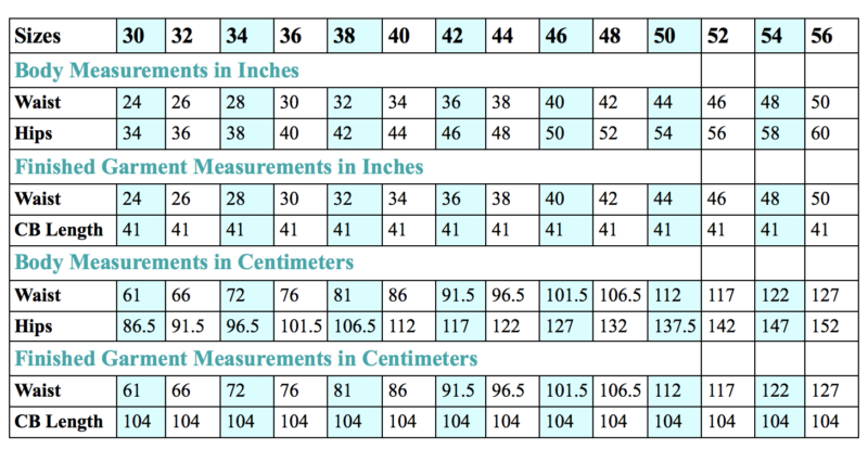 Scroop Fantail Skirt Sizing Chart