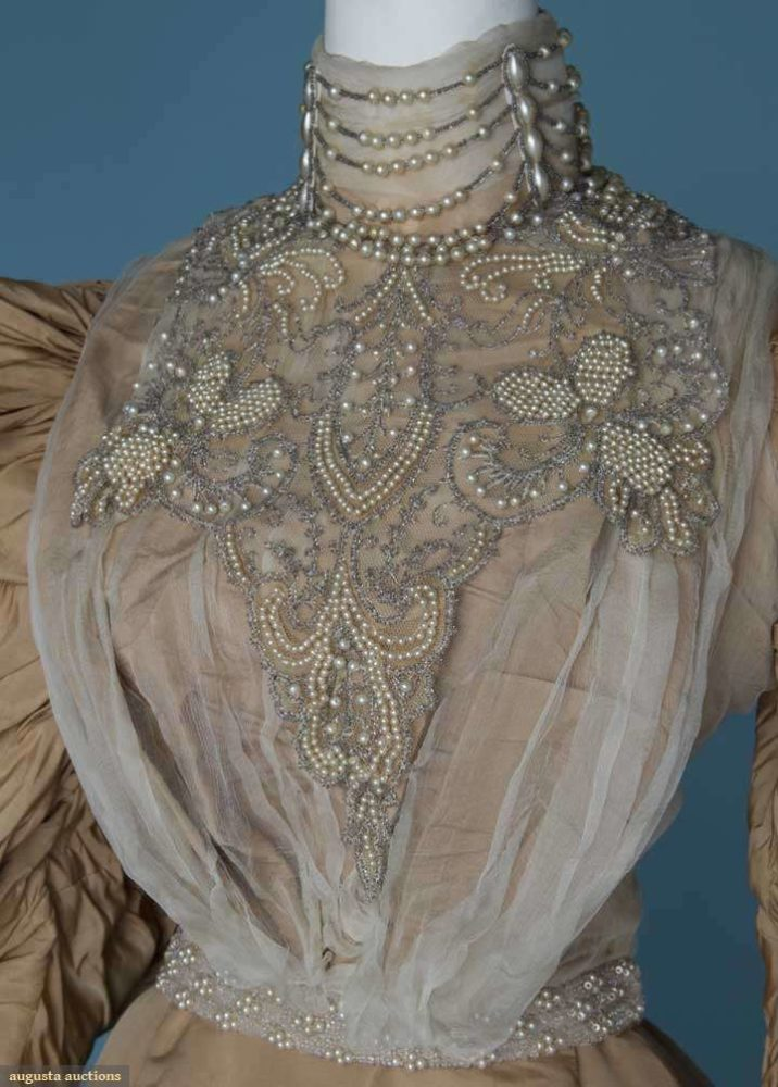 Reception gown, 1895-1896, labelled 'Sprague Battle Creek', silk faille with silk chiffon, net, and beading, sold by August Auctions, Lot 400 November 14, 2012 NYC