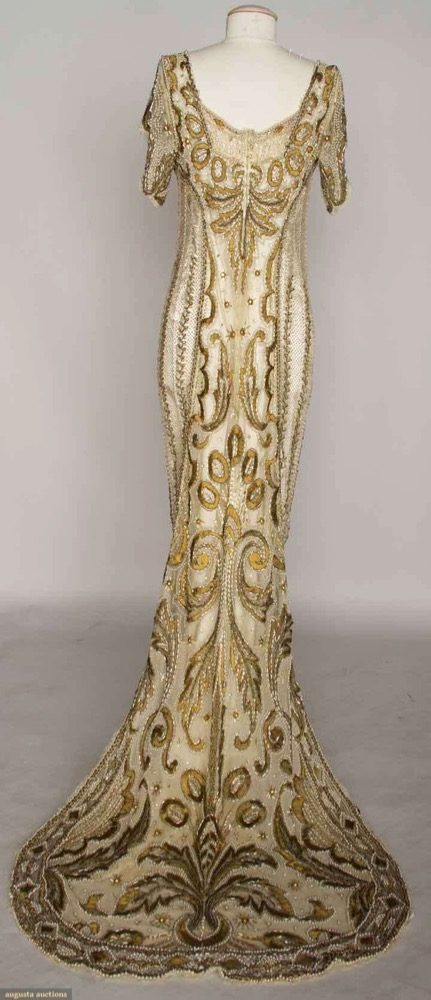 Gold beaded ball gown, c. 1908, Lot- 307 Nov 13, 2013 - NYC, embroidery & beading w: ribbon, bronze thread, gold beads, silver bugle beads, rhinestones, pearls & silk ribbon, Augusta Auctions