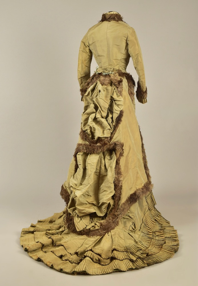 Two piece reception or day dress said to have been worn by Empress Eugenie, silk taffeta and faille with ostrich feathers, 1876, Helen Larson Collection, sold by Whittaker Auctions