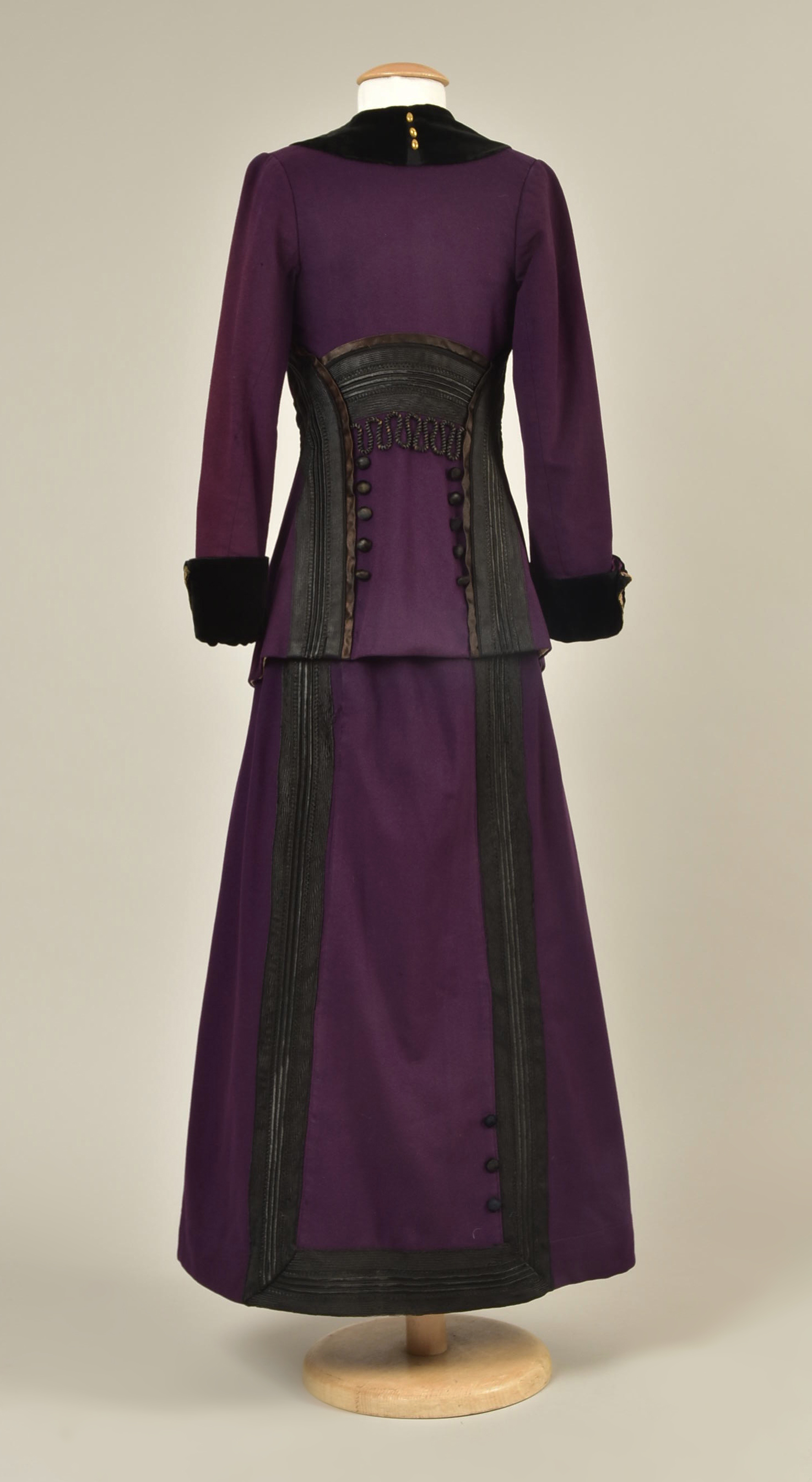 Wool suit with braided trim, ca 1912, Helen Larson Historic Costume Collection, Sold by Whitaker Auctions