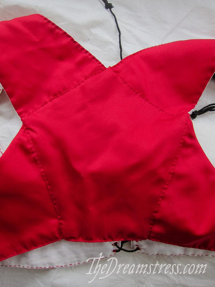 Red silk sleeveless Regency spencer thedreamstress.com