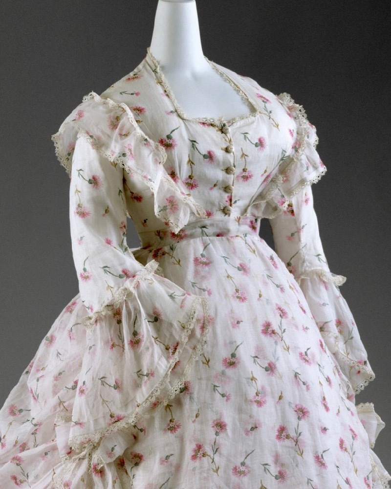 Dress,ca. 1872, French, a) cotton, porcelain; b) cotton Purchase, Irene Lewisohn Bequest, 2003, Metropolitan Museum of Art, 2003.426a, b