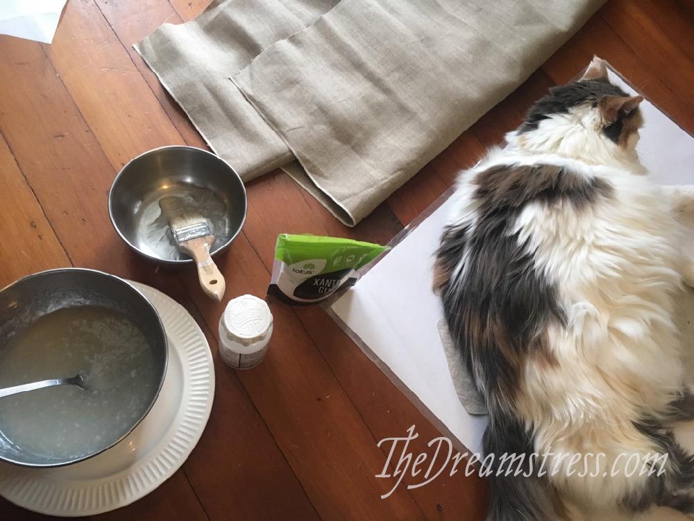 Making linen buckram: gum tragacanth vs xathan gum thedreamstress.com