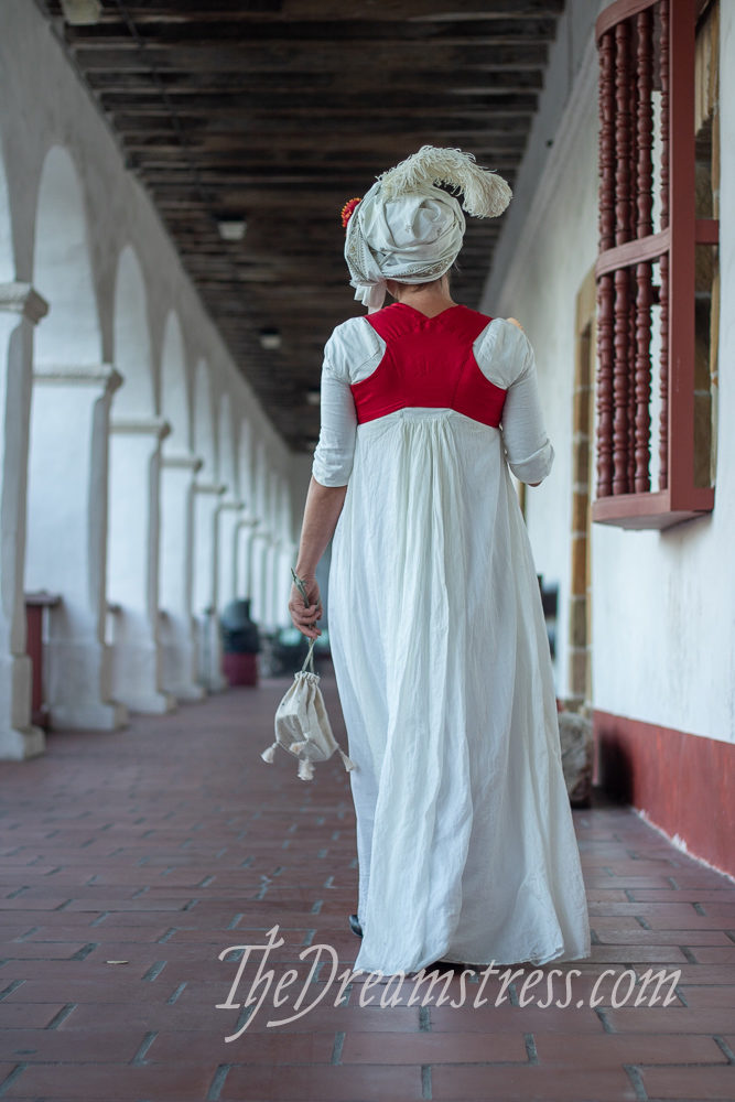 1790s costume at the Santa Barbara Missson, thedreamstress.com
