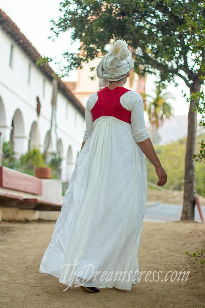 1790s costume at the Santa Barbara Missson, thedreamstress.com