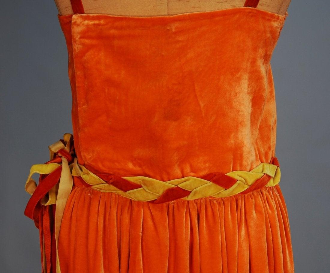 Robe de Style, Sadie Nemser, 1920's. Tangerine silk velvet, beaded hem, Whitaker Auctions
