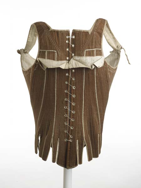Corset (stays) brown cotton twill, 1780-1795, Museum of London, 49.91:1,