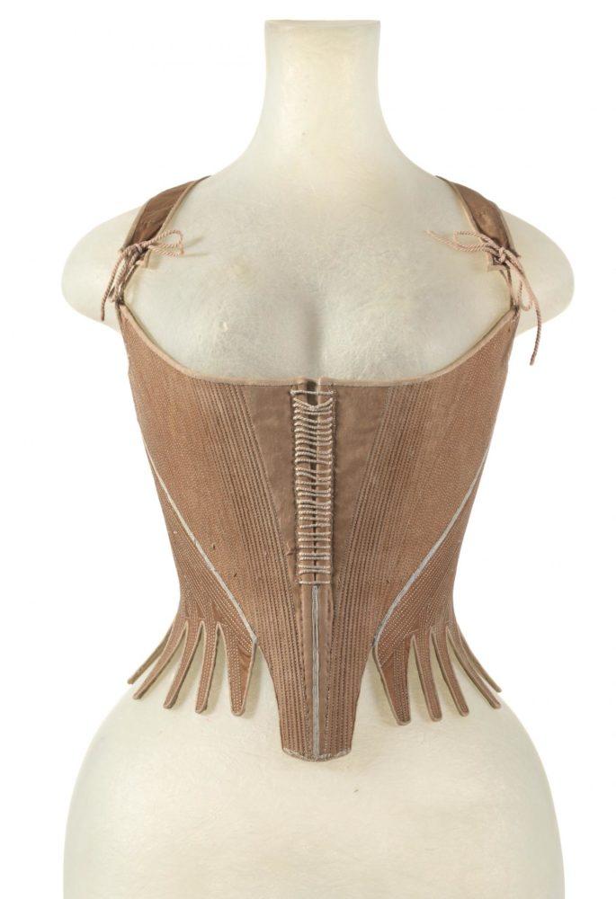 Corset (Stays), c. 1770-1780, SCOTLAND, cotton, linen, silk, baleen, Scotland, National Gallery Victoria (Australia) CT161-1983