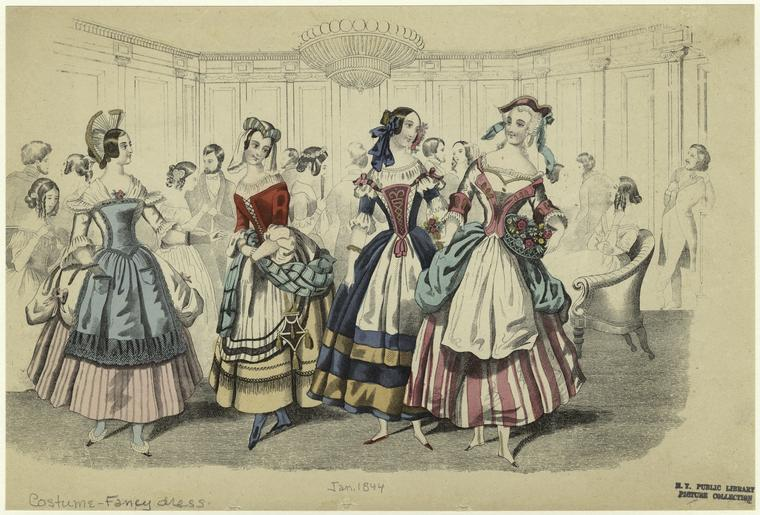 Fancy Dress, 1850s, NYPL catalog ID (B-number): b17567042