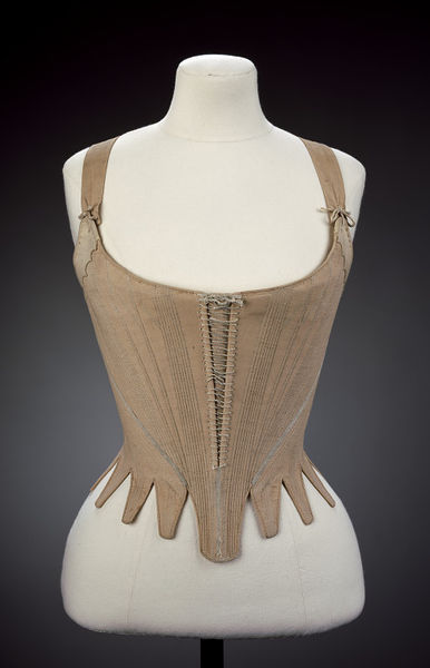 Stays, Great Britain, 1780-1789, Linen, hand sewn with linen thread, applied ribbon, chamois and whalebone, VAM T.172-1914
