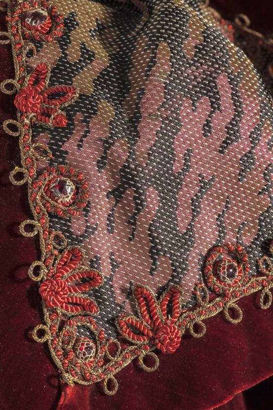 Dress, Emile Pingat, Paris, 1897, Silk velvet & silk compound weave with supplementary warp floats, linen lace, cotton, silk, and metallic-thread applique & glass beads, LACMA M.2012.95.123a-b
