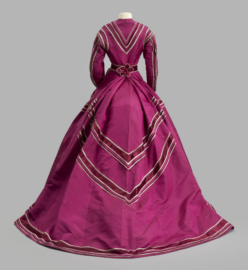 Day dress, 1867, Marie and Josephine Virfolet, New York City, Ribbed silk, silk satin, glass seed beads, Albany Institute of History & Art, 1972.95.7