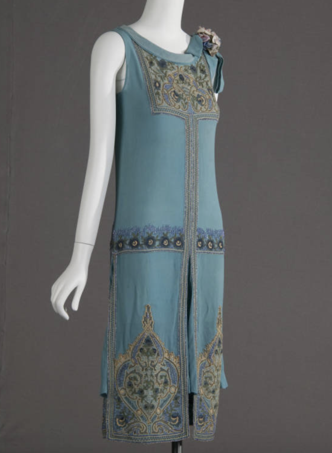 Wedding dress, 1927. Silk crepe, glass beads, metallic thread embroidery. Maker unknown. Gift of Robert C. Woolard. 1991.408a, Sponsored by Laura Barnett Sawchyn, Chicago Historical Society