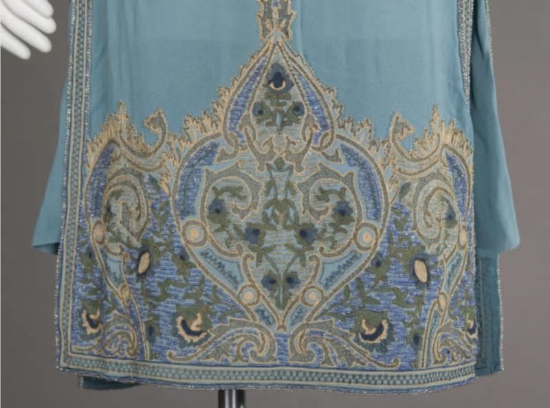 Wedding dress, 1927. Silk crepe, glass beads, metallic thread embroidery. Maker unknown. Gift of Robert C. Woolard. 1991.408a, Sponsored by Laura Barnett Sawchyn, Chicago Historical Society
