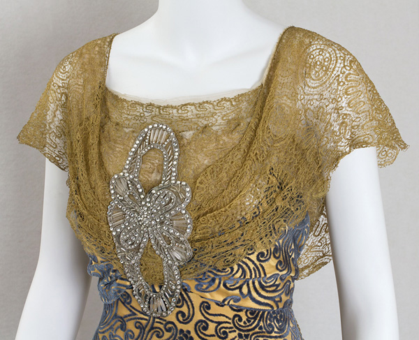 Devoré velvet evening dress trimmed with metallic lace, c.1910 sold by VintageTextile.com
