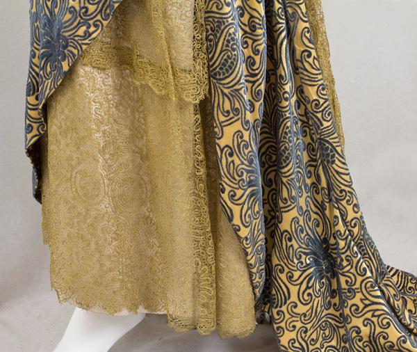 Devoré velvet evening dress trimmed with metallic lace, c.1910 sold by VintageTextile.com
