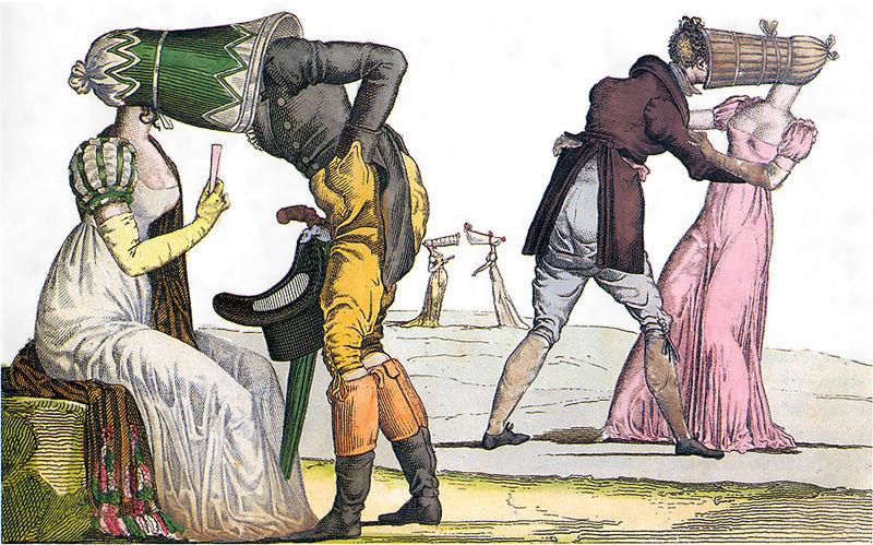 Aaron Martinet French, 1762 - 1841 Les Invisibles en tête-à-tête (Tête-à-Tête with Poke Bonnets) Le Supreme Bon Ton, pl. 16 (series) c. 1805