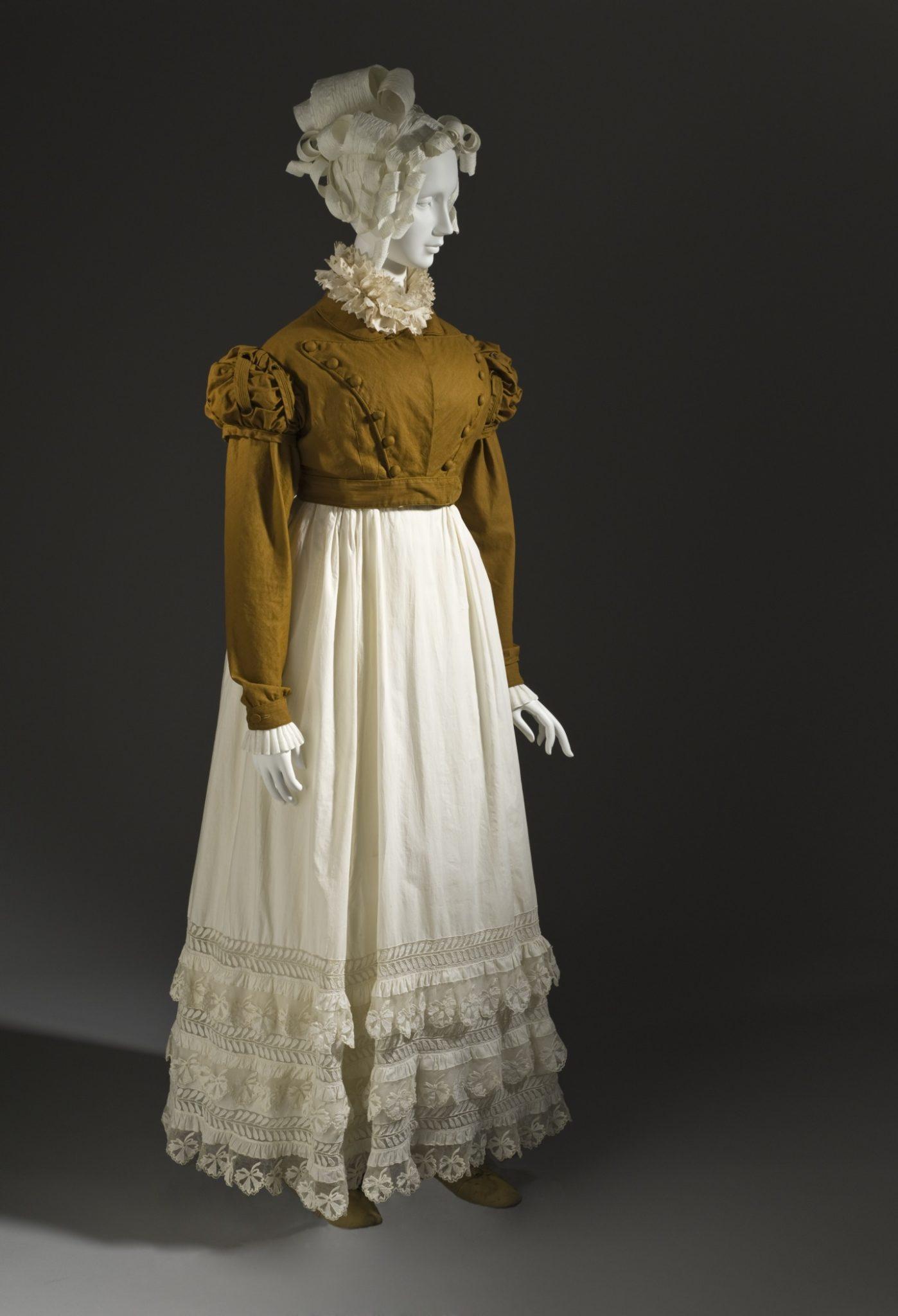 Spencer jacket & skirt, France, circa 1815, Jacket- cotton plain weave; skirt- cotton plain weave with linen net and cotton plain-weave appliqués, LACMA M.2007.211.15a-b