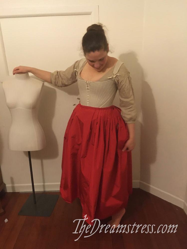 A red silk 1780s petticoat thedreamstress.com