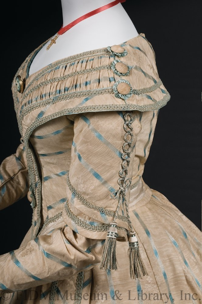 Day dress, 1841-42, silk, metal, crinoline, FIDM Museum, 2010.5.23A-D