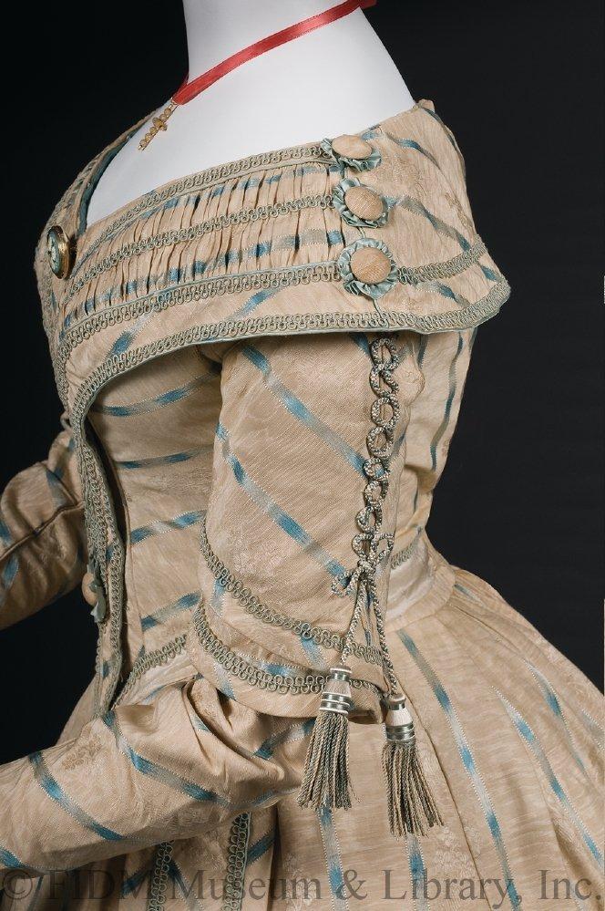 Day dress, 1841-42, silk, metal, crinoline, FIDM Museum, 2010.5.23A-D