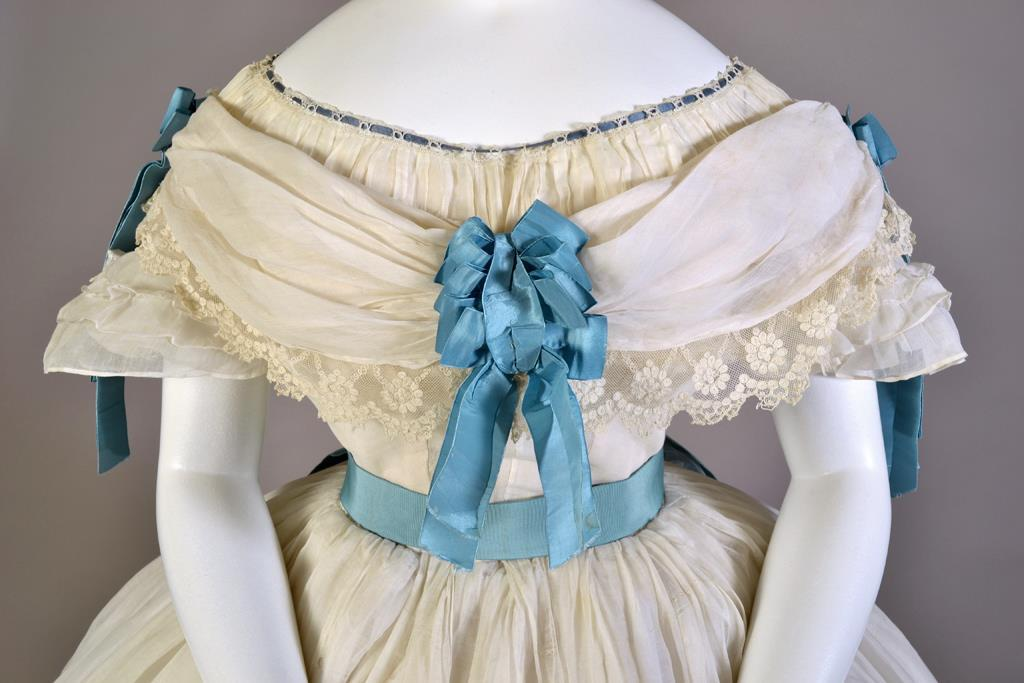 Dress, cotton with blue silk sash and bow, French, ca. 1860, KSUM 1983.1.2071 a-h.