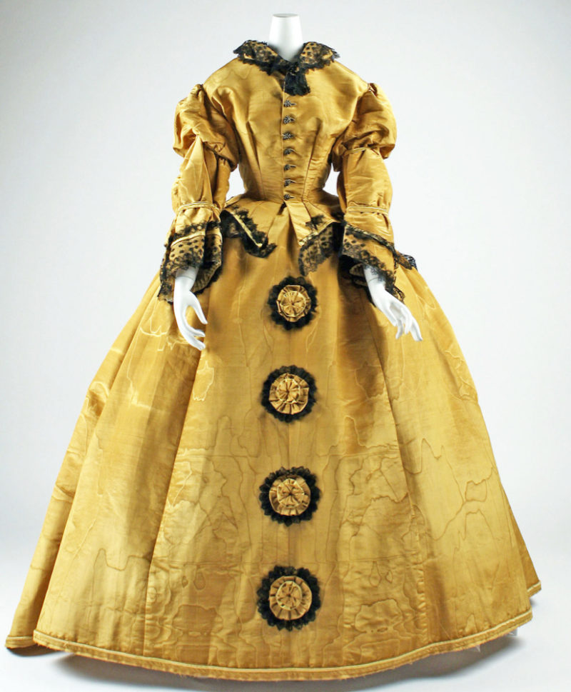 Dress, 1867–68, American, silk, Gift of Mrs. Jennie F. Potter, 1946, Metropolitan Museum of Art, C.I.46.96a, b
