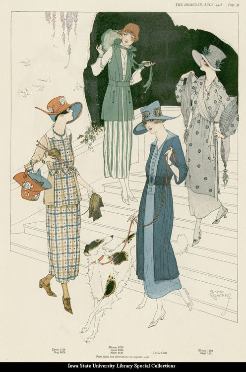 1918 July, The Designer Magazine. Day, afternoon and sports wear for summer.