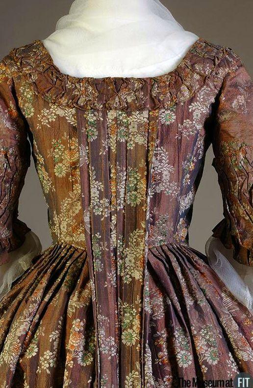 Robe à la française, c.1760, Denmark, Violet and pink iridescent silk brocade. Museum at FIT.