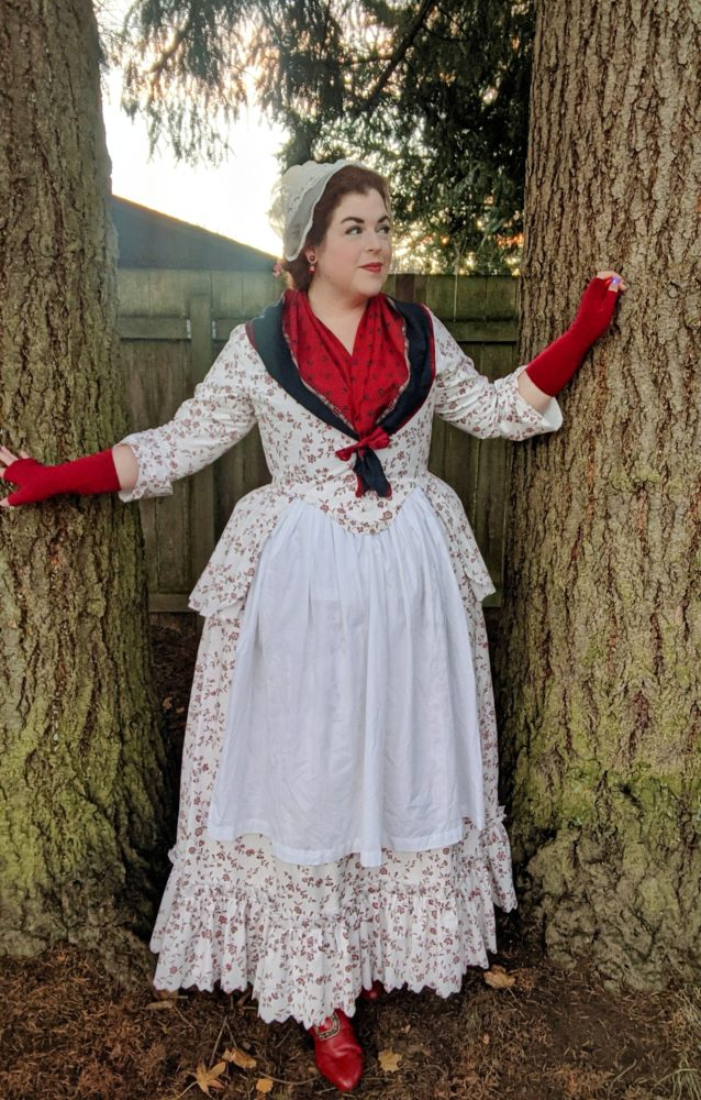 Rebecca of @ladyrebeccafashions in the Scroop + Virgil's Fine Goods Amalia Jacket