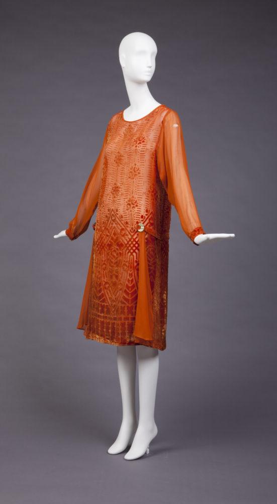 Dress, 1927-1928, plastic, silk, Gift of Mrs. Herbert O. Johnson,  Goldstein Museum of Design 1981.033.032