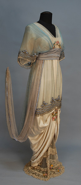 Evening gown, silk satin and silk net, with appliqués and beading, Lucile, Lady Duff Gordon, ca. 1914, sold by Augusta Auctions