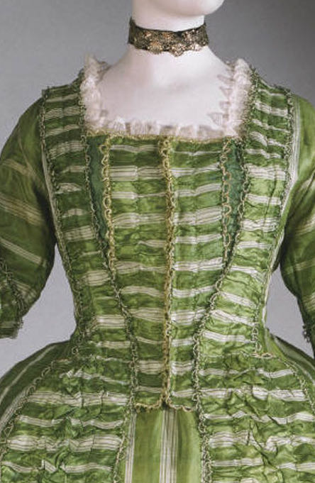 Robe à la française with attached stomacher and matching petticoat French, c. 1770-1780, silk, imported from China, with silk trim, Philadelphia Museum of Art 1981-9-2a,b