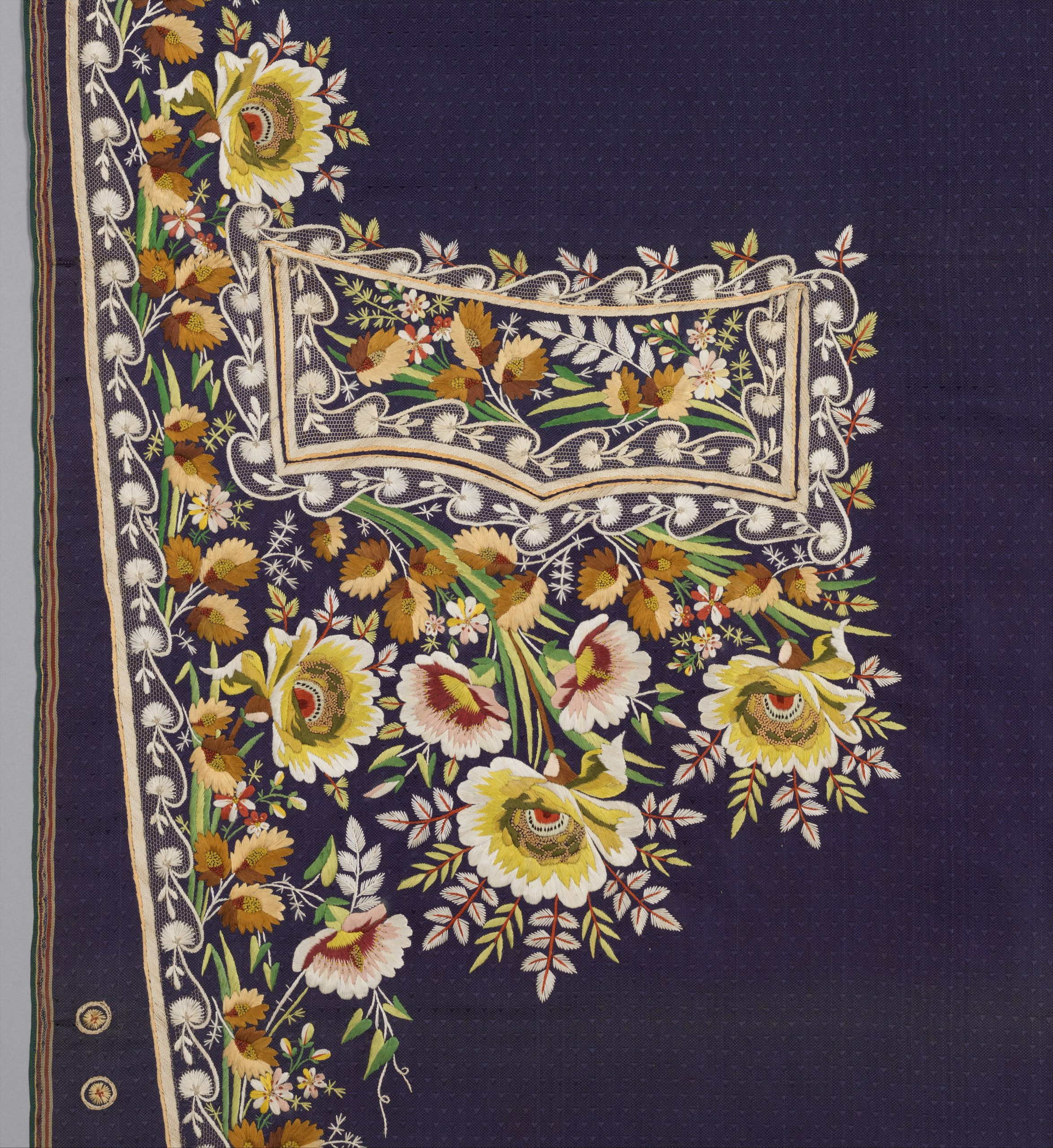 Embroidered panels for a man's suit, 1780s, French,  Silk embroidery on woven silk, satin stitch; stem stitch, knots and silk net; Length: 45 1/4 in. (114.9 cm); Length: 45 in. (114.3 cm); Length: 48 1/2 in. (123.2 cm); Length: 49 in. (124.5 cm) Length: 20 1/2 in. (52.1 cm) Other (selvage to selvage): 22 1/4 in. (56.5 cm)