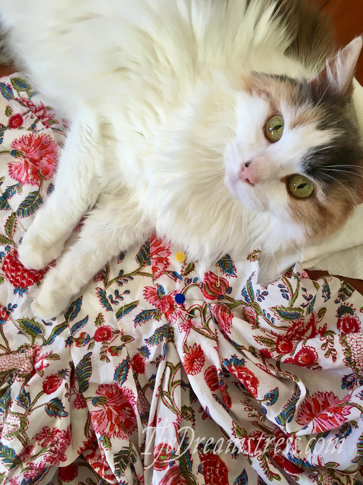 A calico cat with green eyes lying on floral fabric