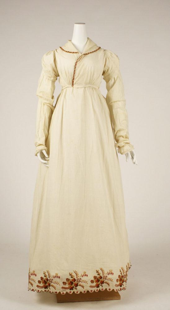 Morning dress, ca. 1806, American, cotton, wool, Gift of George V. Masselos, in memory of Grace Ziebarth, 1976, Metropolitan Museum of Art, 1976.142.2