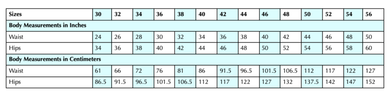 Scroop Petticoat Size Chart