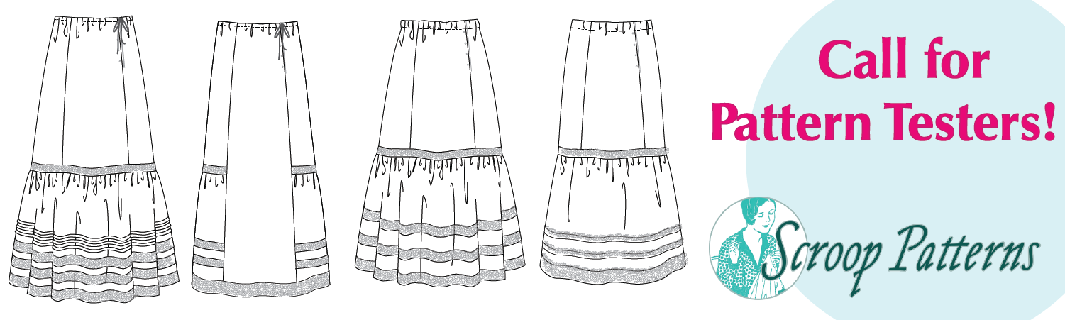 Banner showing line drawings of four petticoats and reading 'call for pattern testers'