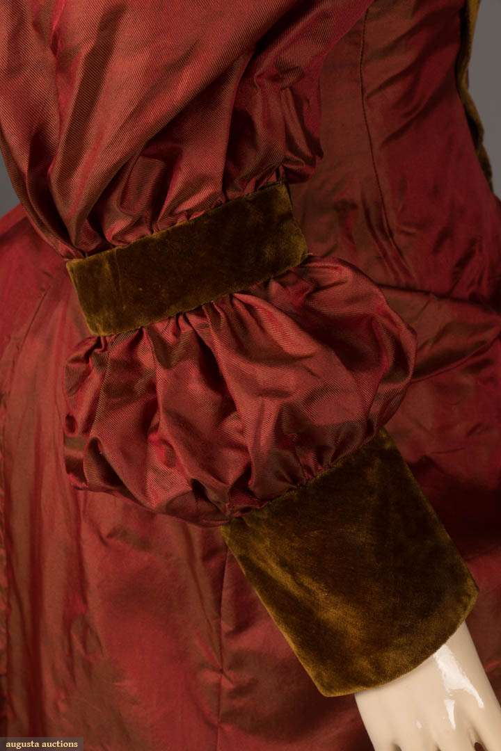 Changeable silk dinner gown, c. 1895,  Brick red to olive green silk faille gown with gigot sleeves, sold by Augusta Auctions November 13th, 2019, NYC New York City