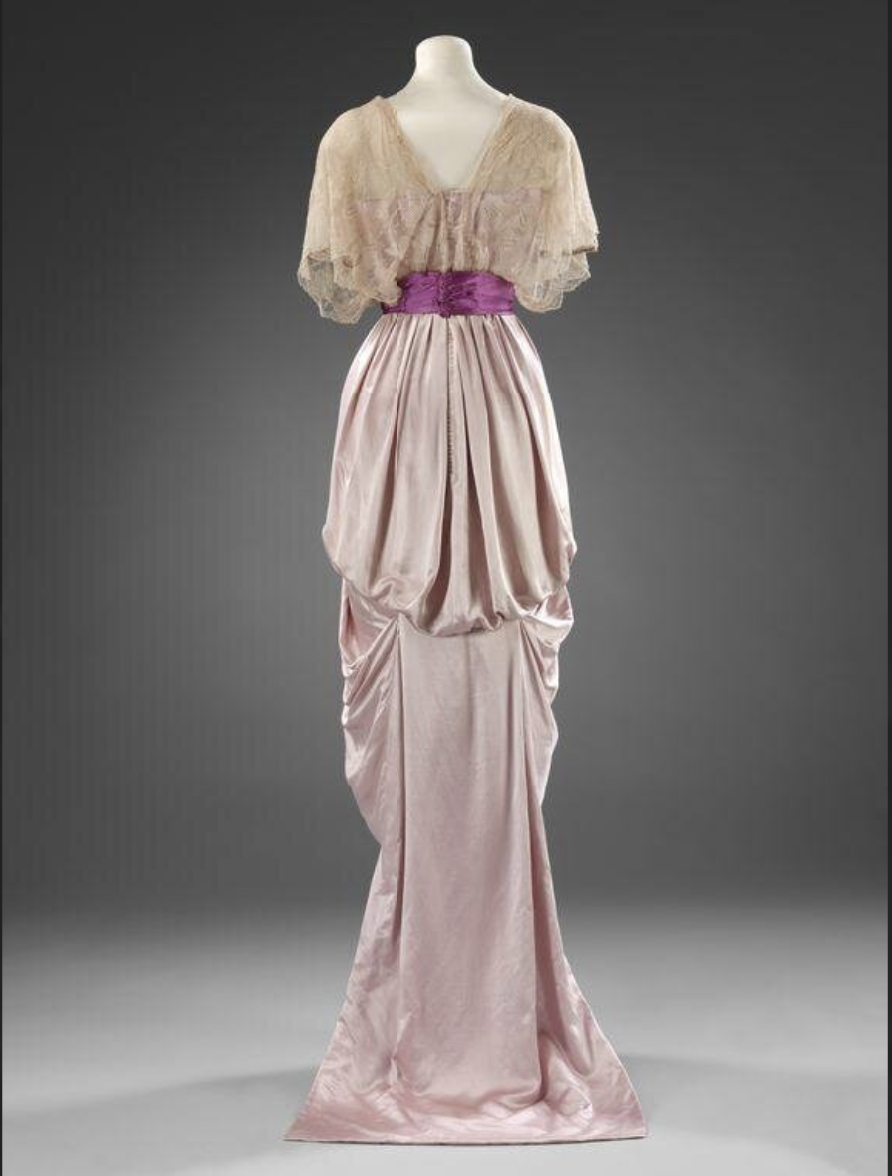 Evening dress, 1912, England, Jays Ltd. Satin with machine lace, Victoria & Albert Museum T.49-1981